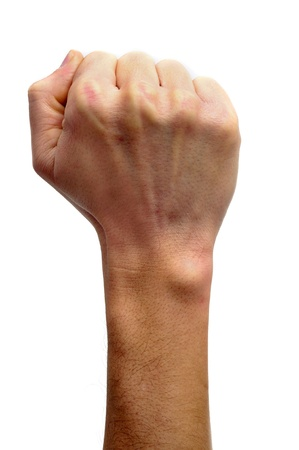 anarchism: raised fist on a white background Stock Photo