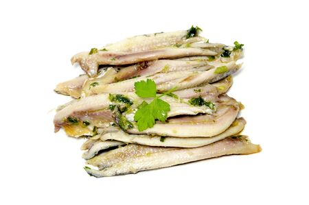 a pile of anchovies in vinegar isolated on a white background Stock Photo - 8636858