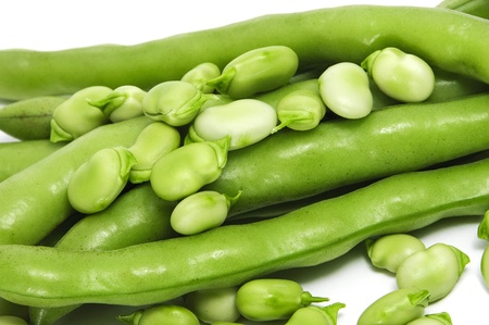 haba: closeup of some broad bean pods and beans Stock Photo