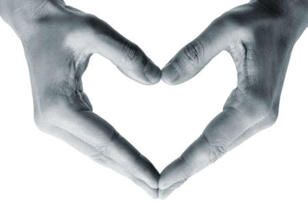 man hands forming a heart on a white background photo