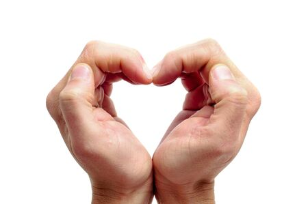 part i: man hands forming a heart on a white background Stock Photo