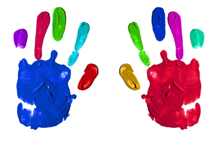 colorful handprints isolated on a white background Stock Photo - 8636903