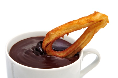 tapas: churros con chocolate, a typical Spanish sweet snack Stock Photo