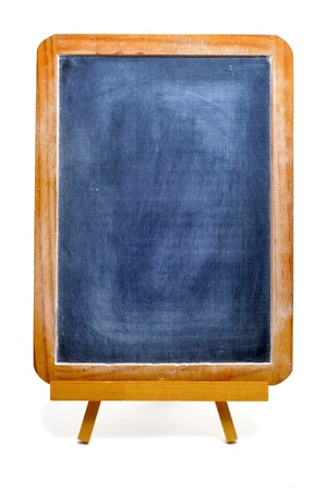 an old blackboard in an easel on a white background photo
