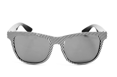 wayfarer: striped  sunglasses isolated on a white background