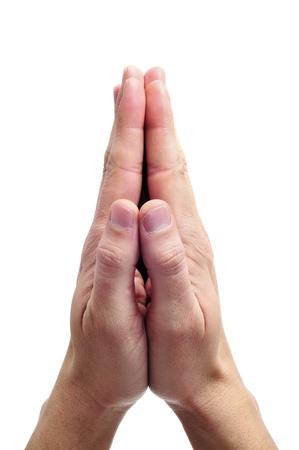 mains pri�re: hommes mains ensemble symbolisant la pri�re et la gratitude Banque d'images