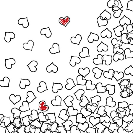 heart outline: black hearts and red hearts drawn on a white background Stock Photo