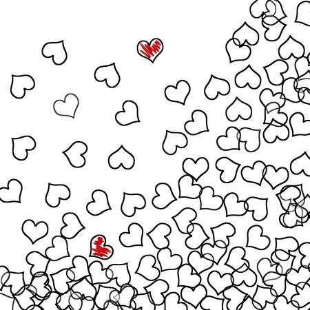 dessin noir blanc: c?ur noir et des coeurs rouges trac�es sur un fond blanc