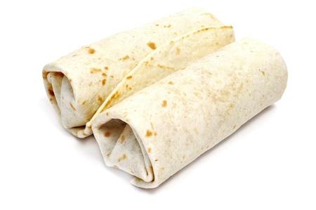 comida gourment: un par de burritos mexicanos aislado en un fondo blanco Foto de archivo