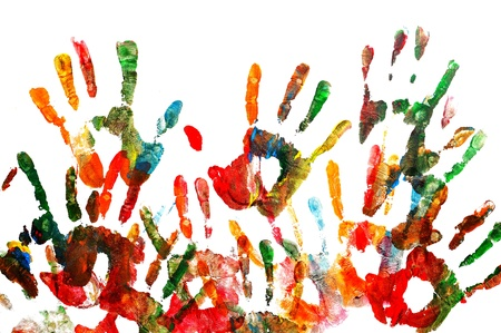 red palm oil: colorful handprints isolated on a white background