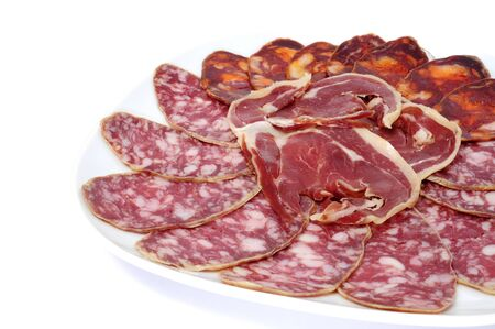 peppered: a pile of different spanish embutido, jamon, chorizo and salchichon Stock Photo