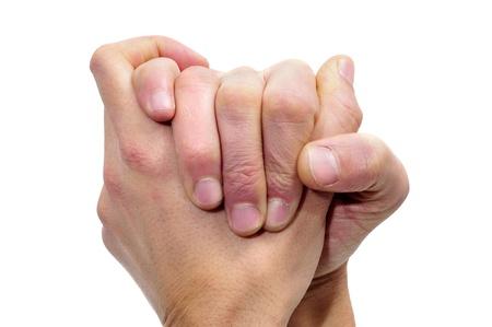 humildad: manos de hombres juntos que simboliza la gratitud o compasi�n Foto de archivo