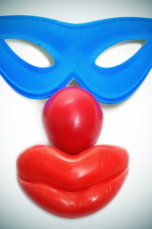 carnival mask, clown nose and mouth photo