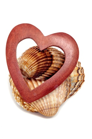 a wooden heart and some seashells on a white background Stock Photo - 8755575