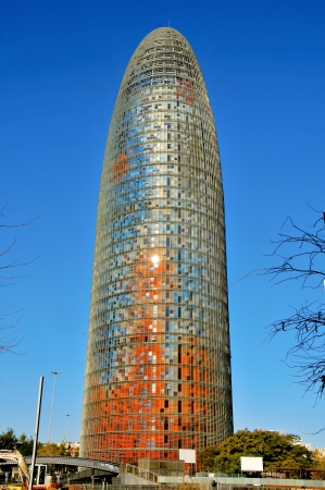 Barcelona Spain - January 22, 2011: The famous Torre Agbar in Barcelona, Spain