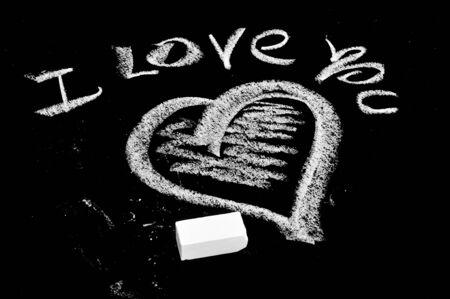 Ti amo scritto in una lavagna Archivio Fotografico