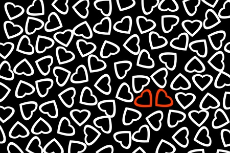 lovingly: red hearts and white hearts drawn on a black background