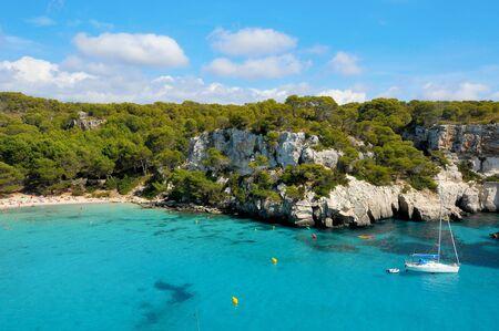 balearic: view of Macarella beach in Menorca, Balearic Islands, Spain Stock Photo