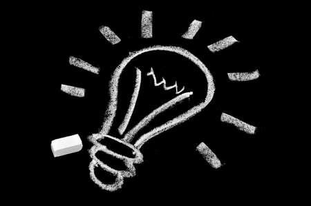 a light bulb drawn in blackboard symbolizing the concept idea Stock Photo - 8805201