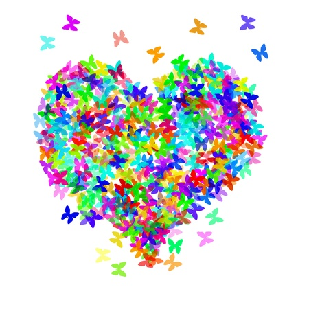 lovingly: butterflies of different colors forming a heart on a white background