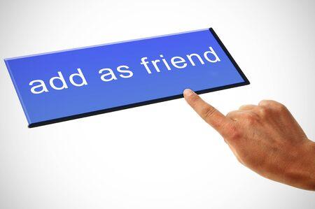 a man hand clicking a add as friend button Stock Photo - 8820472