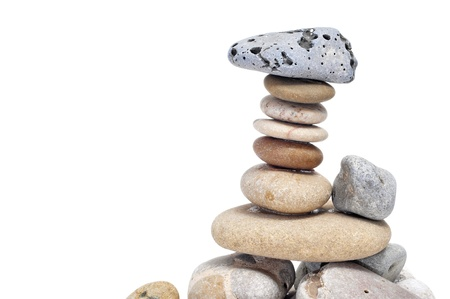 a pile of zen stones on a white background Stock Photo - 8820473