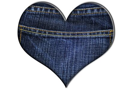 a denim heart isolated on a white background photo