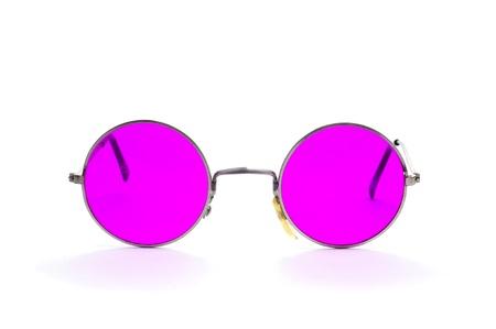 complemento: gafas enmarcado ronda aislados en un fondo blanco Foto de archivo