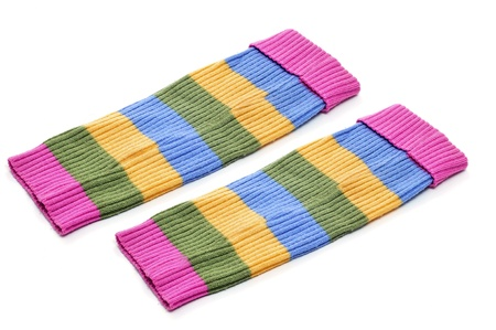 a pair of striped leg warmers isolated on a white background Stock Photo - 8858122
