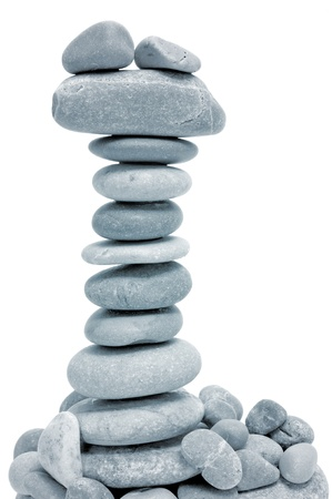 a pile of zen stones on a white background Stock Photo - 8881372