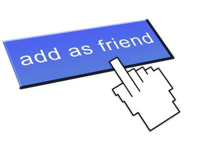 a hand clicking an add as friend button Stock Photo - 8881371