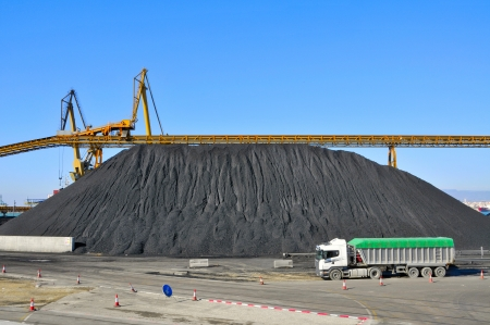 coal truck: closeup of the facilities of a coal industry