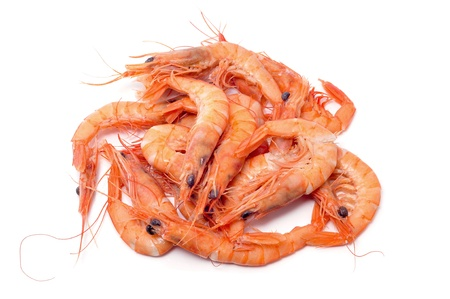 prawn: a pile of shrimps on a white background