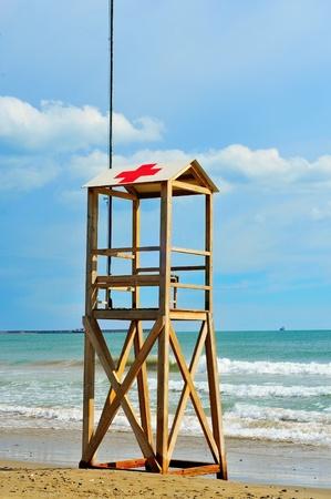 closeup of a lifeguard tower in a spanish beach photo