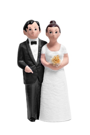 figurines: couple wedding cake topper isolated on a white background