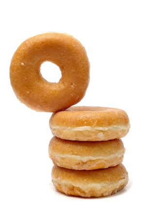 glaze: a pile of donuts  on a white background Stock Photo