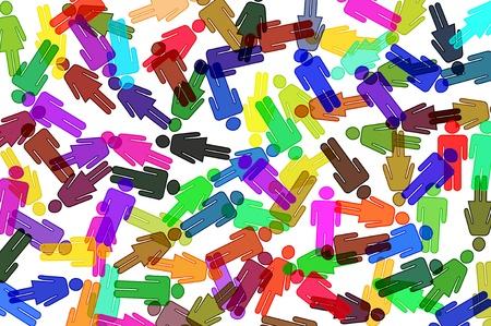 tolerancia: siluetas de hombres y mujeres de diferentes colores sobre un fondo blanco Foto de archivo