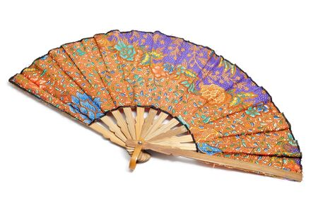 fan dance: spanish hand fan on a white background