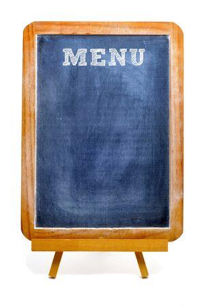 menu de postres: un men� de pizarra en blanco sobre un fondo blanco Foto de archivo