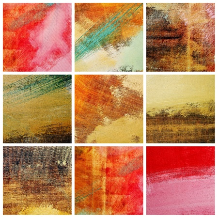 brushstrokes: collage of several canvas with brushstrokes of different colors