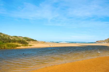 view of Binimela beach in Menorca, Balearic Islands, Spain photo