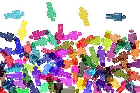 tolerancia: siluetas de personas de diferentes colores sobre un fondo blanco
