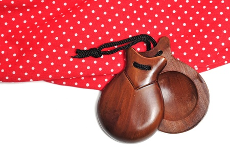 castanets and flamenco dress typical of Spain photo
