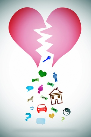 detachment: an illustration with a broken heart symbolizing the concept divorce Stock Photo