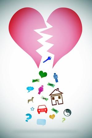 scheidung: eine Illustration mit gebrochenem Herzen symbolisiert die Konzept-Scheidung Lizenzfreie Bilder