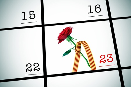 sant: a red rose with the senyera, for Sant Jordi or the Roses Day in Catalonia, on April 23