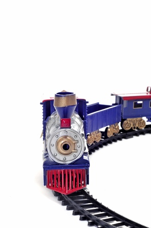 a toy train isolated on a white background photo