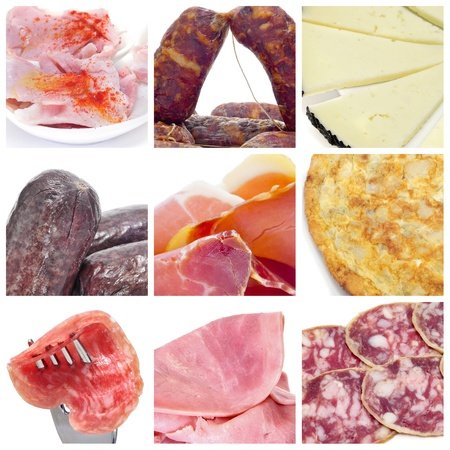 a collage of nine pictures of different spanish embutido and tapas photo