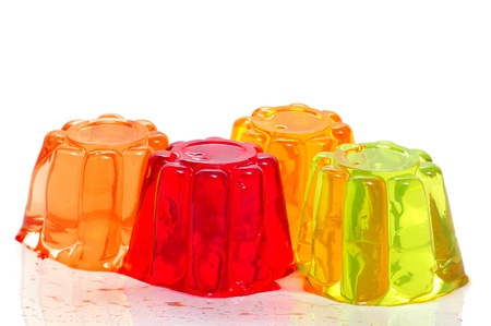 gelatin: gelatin of different colors on a white background