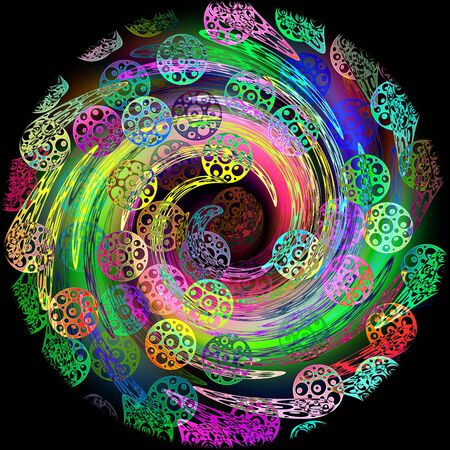 circles of different colors drawn on a black background with a whirlpool effect Stock Photo - 9066464